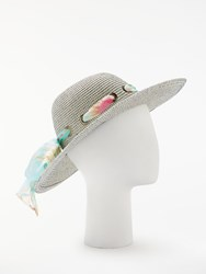 And Or Aztec Packable Ribbon Detail Glam Floppy Sun Hat Blue Mix