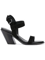 A.F.Vandevorst Diagonal Heel Buckled Sandals Black