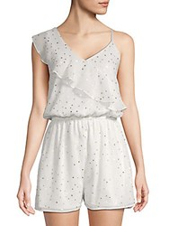 Collective Concepts One Shoulder Metallic Star Print Romper White