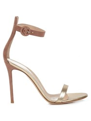 Gianvito Rossi Portofino Suede And Leather Sandals Pink Gold