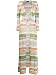 Missoni Striped Maxi Cardigan Neutrals