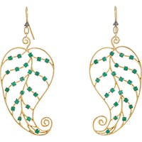 Cathy Waterman Women's Emerald And Gold Leaf Earrings No Color