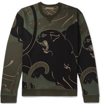 Valentino Printed Loopback Cotton Blend Jersey Sweatshirt Green