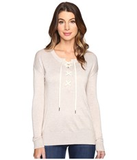 Splendid Lakewood Henley Pullover Heather Wheat Women's Long Sleeve Pullover Beige