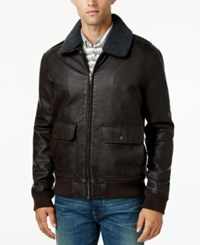 Tommy Hilfiger Men's Removable Faux Sherpa Collar Faux Leather Bomber Jacket Dark Brown