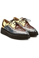 N 21 Gravity Platform Leather Brogues With Sequins Multicolored
