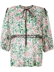 N 21 No21 Floral Peasant Blouse White