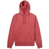 Champion Reverse Weave Logo Garment Dyed Popover Hoody Red