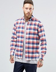 Penfield Beresford Check Button Shirt In Regular Fit Brushed Cotton Navy