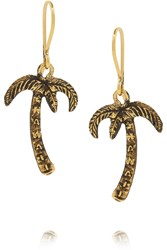Saint Laurent Burnished Gold Tone Earrings