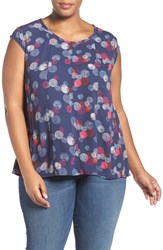 Sejour Plus Size Women's Cap Sleeve Crepe Swing Top Navy Pink Print