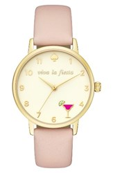 Kate Spade Women's New York Metro Wish Leather Strap Watch 34Mm Pink Gold