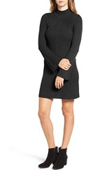 Sequin Hearts Women's Bell Sleeve Knit Sweater Dress Black