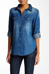 Blvd Front Button Denim Shirt Blue
