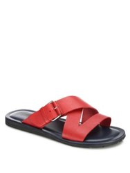 Saks Fifth Avenue Cross Strapped Leather Slide Sandals Red