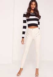 Missguided Multi Zip Thigh Skinny Jeans White