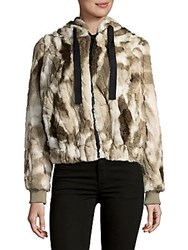Candc California Faux Fur Hooded Coat Olive