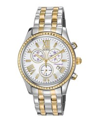 Citizen 40Mm Two Tone Chronograph Bracelet Watch White