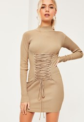Missguided Nude Corset Lace Up Detail Jumper Dress Camel