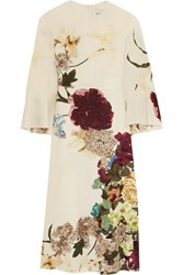 Valentino Cape Back Floral Print Silk Midi Dress Ivory Burgundy