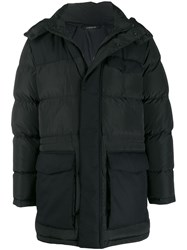 Z Zegna Mid Length Hooded Padded Coat Black