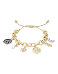 Rj Graziano M Initial Adjustable Charm Bracelet Gold