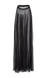 Lanvin Long Pleated Chiffon Skirt Black
