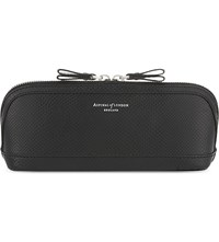 Aspinal Of London Hepburn Medium Lizard Effect Leather Cosmetic Case Black