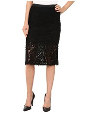Bobeau Lace Fringe Pencil Skirt Black Women's Skirt