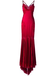 Dolce And Gabbana Lace Trim Gown Red