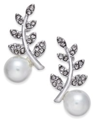 Inc International Concepts Silver Tone Pave And Imitation Crystal Ear Climber Earrings Only At Macy's