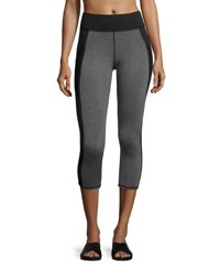 Michi Stardust Cropped Performance Leggings With Pocket Black Gray Multi