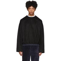 Sasquatchfabrix. Black Faux Suede Crewneck Sweater