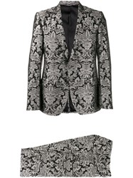 Dolce And Gabbana Floral Embroidered Two Piece Suit Black