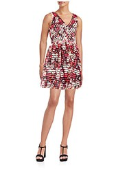 Saks Fifth Avenue Red Eyelet Floral Print Dress Red Multi