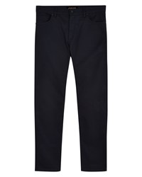 Jaeger Men's Cotton Twill Modern Trousers Navy