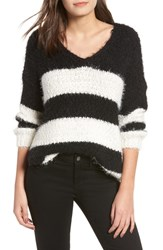 Dreamers By Debut Eyelash Chenille Stripe Sweater Black Ivory