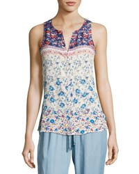 Sanctuary Floral Print Craft Shell Tank White Pattern