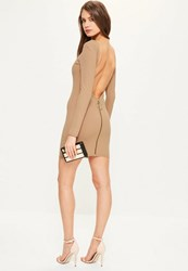 Missguided Nude Crepe Low Back Ring Zip Bodycon Dress Camel