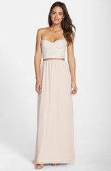 Paper Crown Women's By Lauren Conrad 'Hannah' Lace Bodice Crepe Gown Silver Peony