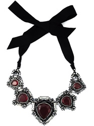 Lanvin Vintage Cut Glass Embellished Necklace Red
