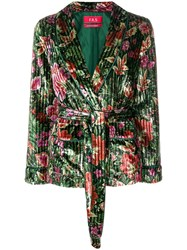 F.R.S For Restless Sleepers Floral Velvet Blazer Green