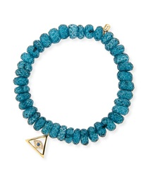 8Mm Faceted London Blue Quartz Beaded Bracelet With 14K Gold Pyramid Evil Eye Charm Sydney Evan