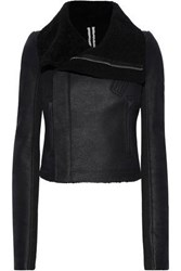 Rick Owens Woman Shearling Paneled Leather Biker Jacket Black