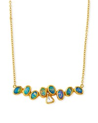 Gurhan One Of A Kind Horizontal Bar Necklace With Diamond And Opal In 24K Gold