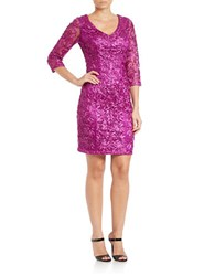 Sue Wong Sequined V Neck Sheath Dress Magenta
