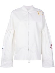 Water Flared Sleeve Bomber Jacket Women Cotton Nylon M White