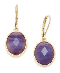 Lonna And Lilly Gold Tone Purple Stone Drop Earrings