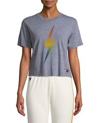 Aviator Nation Bolt Fade Cropped Boyfriend Tee Gray