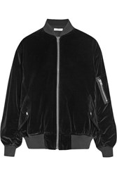Iro Oversized Cotton Velvet Bomber Jacket Black